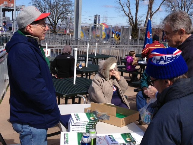 "Andy Linker talking baseball on City Island and signing copies of his book ""One Patch of Grass"""