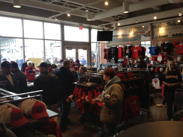 The team store loaded with new merchandise